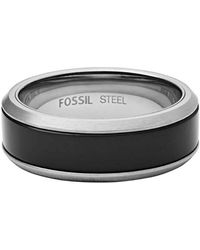 Fossil Men Stainless Steel Plain Band Ring - Jf02928040-10 - Metallic