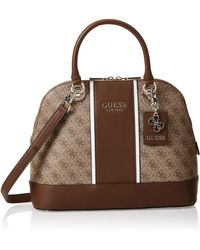 Guess Cathleen Large Dome Satchel Brown - Marrone