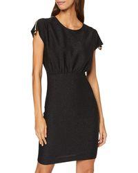 Love Moschino Lurex Short Dress_Zip on Sleeves Robe, - Noir