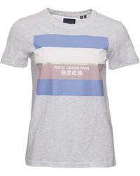 Superdry Stripe Block T-shirt Ice Marl Xs - Multicolour