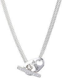 Guess Sautoir collier métal rhodié Collier sautoir Love lock UBN51446 - Métallisé