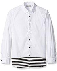 Kenneth Cole Reaction - Long Sleeve 1 Pocket Blocked Stripe - Lyst
