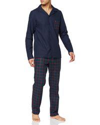 Tommy Hilfiger LS Pant Flannel Patch Gold Set Schlafanzughose - Blau