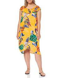 Dorothy Perkins Ruffle On Shoulder Bardot Dress Tropical Party - Yellow