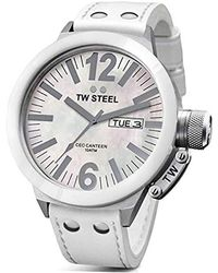 TW Steel - Ce1037 Ceo Canteen White Leather Mother-of-pearl Dial Watch - Lyst