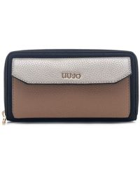 Liu Jo XL Zip Around Wallet With Pocket LIU JO Isola XL Zip Around Wallet With Pocket ?Nero/oro/Nuez? - Multicolore