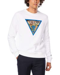 Guess Giles Fleece Logo Crew Neck Sweatshirt White M94q46k92h0 Xx-large