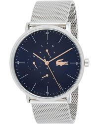 Lacoste 35mm Blue Leather Band Steel Case Quartz Analog Watch 2001071