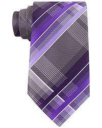 Geoffrey Beene Fearless Plaid Tie - Purple