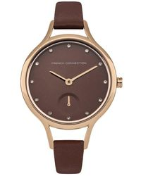 French Connection Quartz Watch With Brown Dial Analogue Display And Brown Leather Strap Fc1274trg