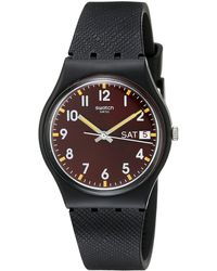 Swatch Uhr Digital Quarz mit Silikonarmband – - Schwarz