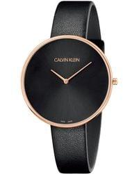 Calvin Klein Reloj Analógico para Mujer de Cuarzo con Correa en Cuero K8Y236C1 - Negro