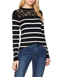Dorothy Perkins 's Lace Stripe Jumper - Black