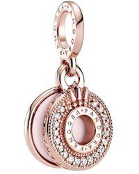 PANDORA Pendentif en forme de couronne pavé scintillant en or rose. - Multicolore