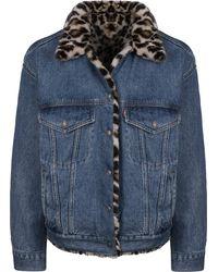 Levi's Levis Dad Reversible Fur Trucker Jacket Cat Eye L - Blau