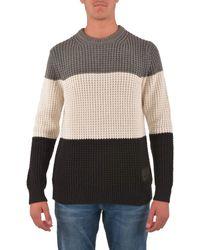 Calvin Klein Maglione a Righe testurizzate Colore Bianco/Nero/Grigio