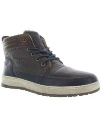 Bugatti 321-3345C Dark Blue/Dark Grey Leather s Lace/Zip Up Winter Boots EU 43
