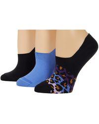 Converse 3-pair Pack Ombre Color-block Leopard Microfiber Liner Black/purple Assorted 4-10 Shoe