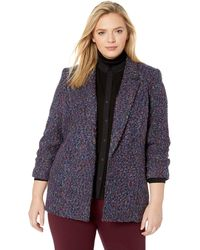 Nine West 4 Button Notch Collar Double Breasted Tweed Jacket - Blue