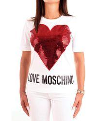 Love Moschino Short Sleeve T-Shirt_Sequin Heart + Logo - Rouge