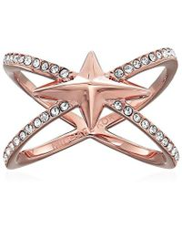 Michael Kors - Brilliance Starburst Pave Rose Gold-tone Open Ring - Lyst