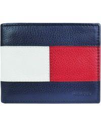 Tommy Hilfiger Rfid Single Fold Bifold Wallet Billfold - Blue