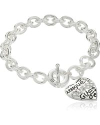 "Guess ""basic"" Silver And Crystal Graffiti Heart Toggle Charm Bracelet - Metallic"
