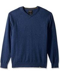 Skechers Fairway Long Sleeve V Neck Cottom Cashmere Jumper Vest - Blue
