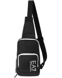 Emporio Armani EA7 Pouch Messenger Bag One Size Black White Det - Schwarz