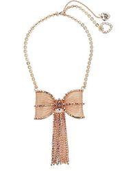 Betsey Johnson - S Rose Gold Pave Fringed Bow Necklace - Lyst