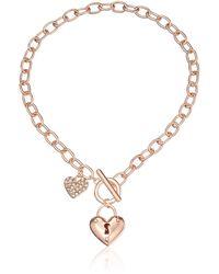 Guess Heart Lock Charm Toggle Link Charm Bracelet - Metallic