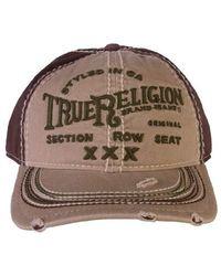 True Religion Printed Black Adjustable Cotton Baseball Hat - Multicolore