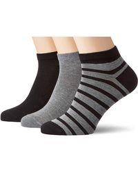 Falke Sneakersocken 3er Set Happy - 85% Baumwolle, 3 Paar, Schwarz (Light Grey/Black 10), Größe: 39-42 - Blau