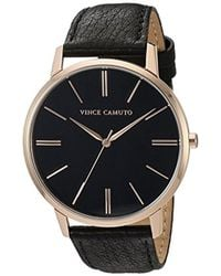 Vince Camuto - Vc/5322rgbk Black Leather Strap Watch - Lyst