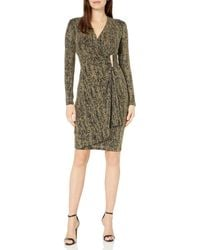 Calvin Klein - Glitter Faux Wrap Dress With Side Tab - Lyst