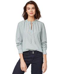 Tom Tailor Für Frauen Blusen, Shirts & Hemden Gestreifte Bluse mit Rüschen-Details - Blau