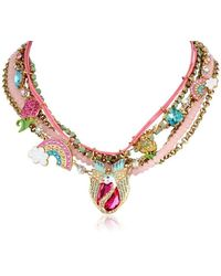 "Betsey Johnson ""fairyland Swan And Rainbow Multi-row Necklace, 20"" - Multicolor"