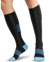 HIKARO Amazon Brand – Chaussettes de Contention S-M - Noir/Blau - Bleu