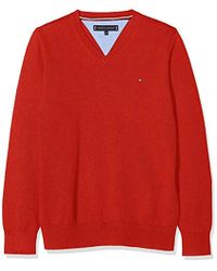 Tommy Hilfiger Essential Organic V-Neck Sweater suéter para Niños - Rojo