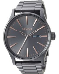Nixon Sentry SS Stainless Steel Day/Date 42mm WR 100 Meters s Watch A356 - Mettallic