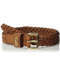 Cole Haan 25mm Braided Belt With Logo Plaque - Brown