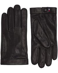 Tommy Hilfiger Logo Embossed Leather Winter Accessory Set - Black