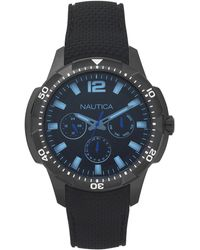Nautica Herren Analog Quarz Uhr mit Silikon Armband NAPSDG004 - Schwarz