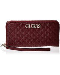 Guess Wilona SLG Large Zip Around Wallet Merlot - Rouge