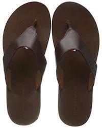 Tommy Hilfiger Herren Hilfiger Leather Sandal Zehentrenner - Braun