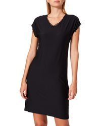Esprit Soft Stripes Nw Cve Nightshirt S-slv Nightgown - Black