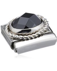 Nomination Composable Bead Classic Faceted Czech Steel Silver 925 + Black Stone - Metallic