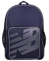 New Balance Logo Sporty Backpack, Adjustable Padded Strap Rucksack - Blue