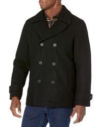 Amazon Essentials Wool Blend Heavyweight Peacoat Outerwear-Coats - Negro