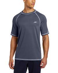 Speedo Uv Swim Shirt Short Sleeve Loose Fit Easy Tee Rash Guard - Blue